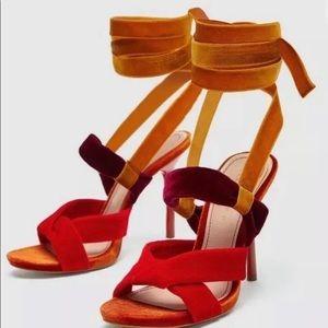 Zara Velvet Strap Sandals